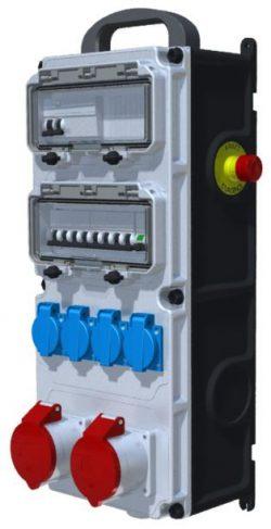 COFFRET DE CHANTIER - ID 4x63A-30mA + AU + 4PC NF + 2PC 32A 3P+N+T