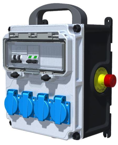 COFFRET DE CHANTIER - ID 2x25A-30mA + AU + 4PC NF + 3M HO7RNF 3G2.5² + Fiche NF