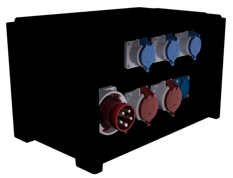 COF. DE DISTRI. – 1 Disj 4P 63A +2PC 3P+N+T 32A 400V +3PC 2P+T 32A 230V +1PC NF +1 Socle 3P+N+T 63A 400V