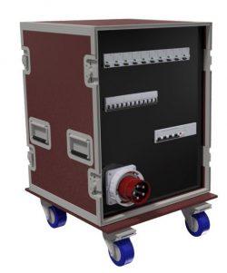 FLIGHT-CASES - 1 DISJ DIFF 4P 125A 300mA +3PC 3P+N+T 32A 400V +9PC 2P+T 32A 230V + 1PC NF +1 Socle 3P+N+T 63A 400V